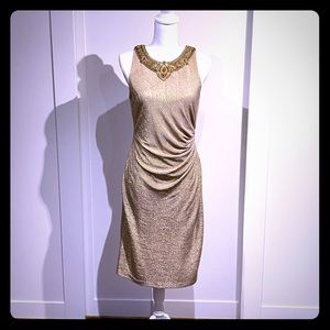 David meister gold cocktail dress